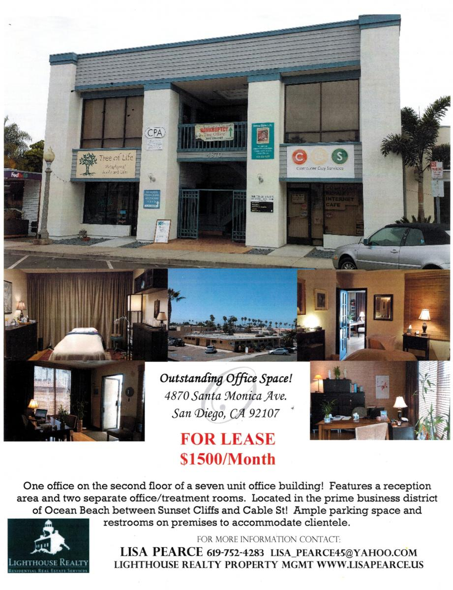 Office space for lease Ocean Beach San Diego