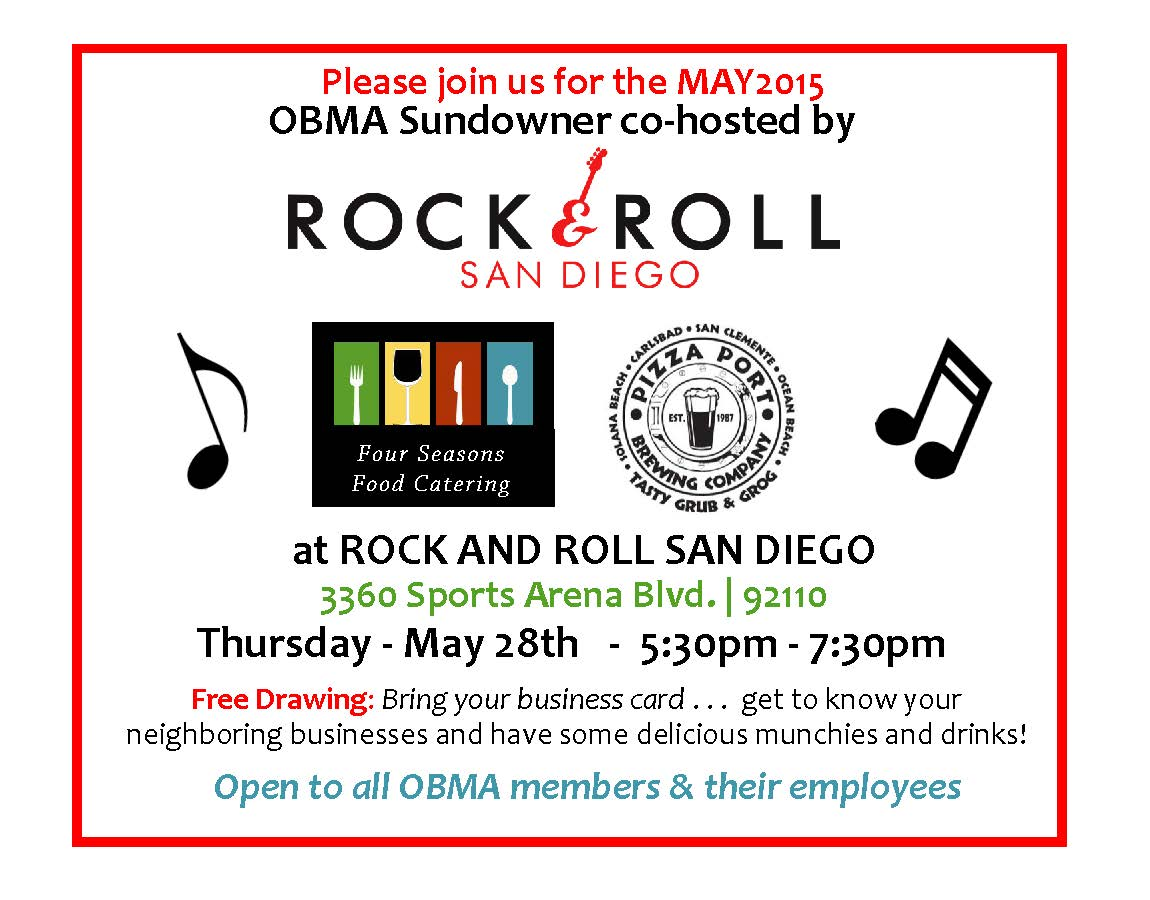 OBMA Member Event: Sundowner at Rock and Roll San Diego