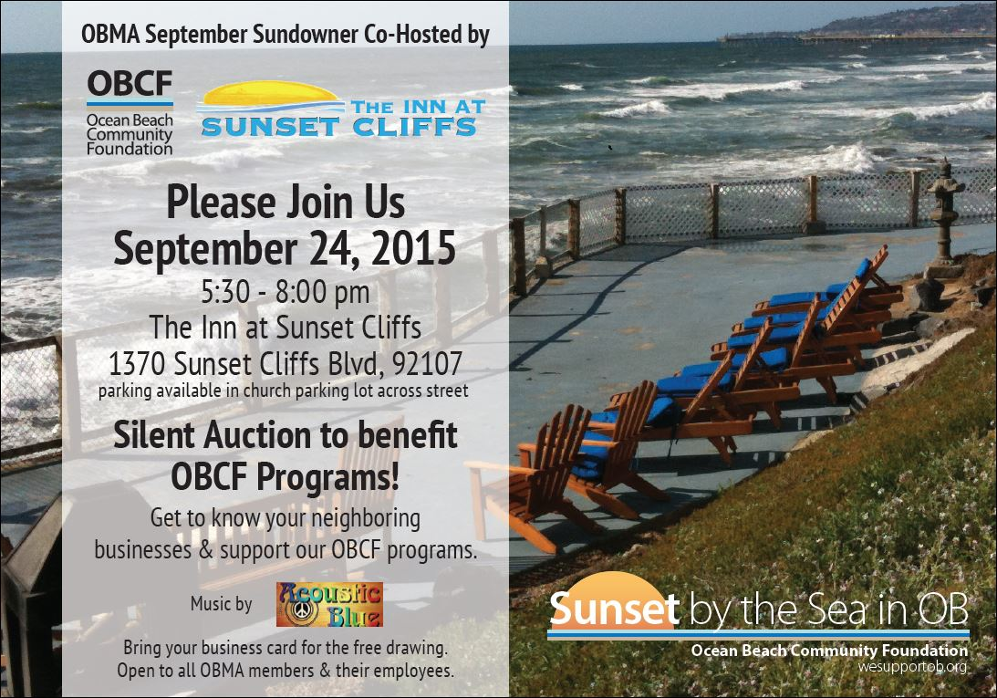 OBMA Member Event: Sundowner at Inn at Sunset Cliffs with Ocean Beach Community Foundation