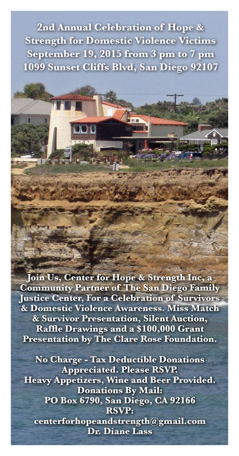 Celebration of Hope & Strength for Domestic Violence Victims and Silent Auction, Saturday, September 19, 3pm to 7pm, 1099 Sunset Cliffs Blvd