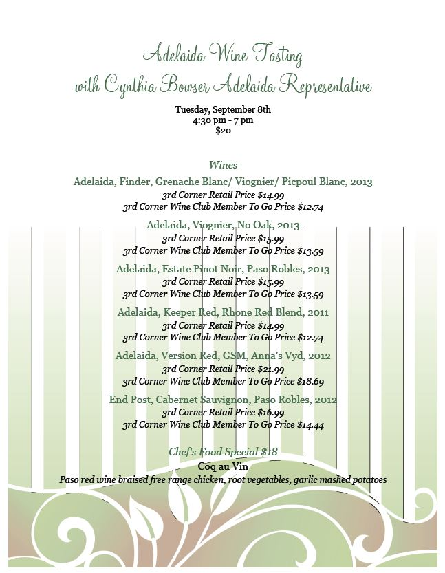 Adelaida Wine Tasting at 3rd Corner Ocean Beach, Tuesday, September 8, 4:30pm-7pm, $20
