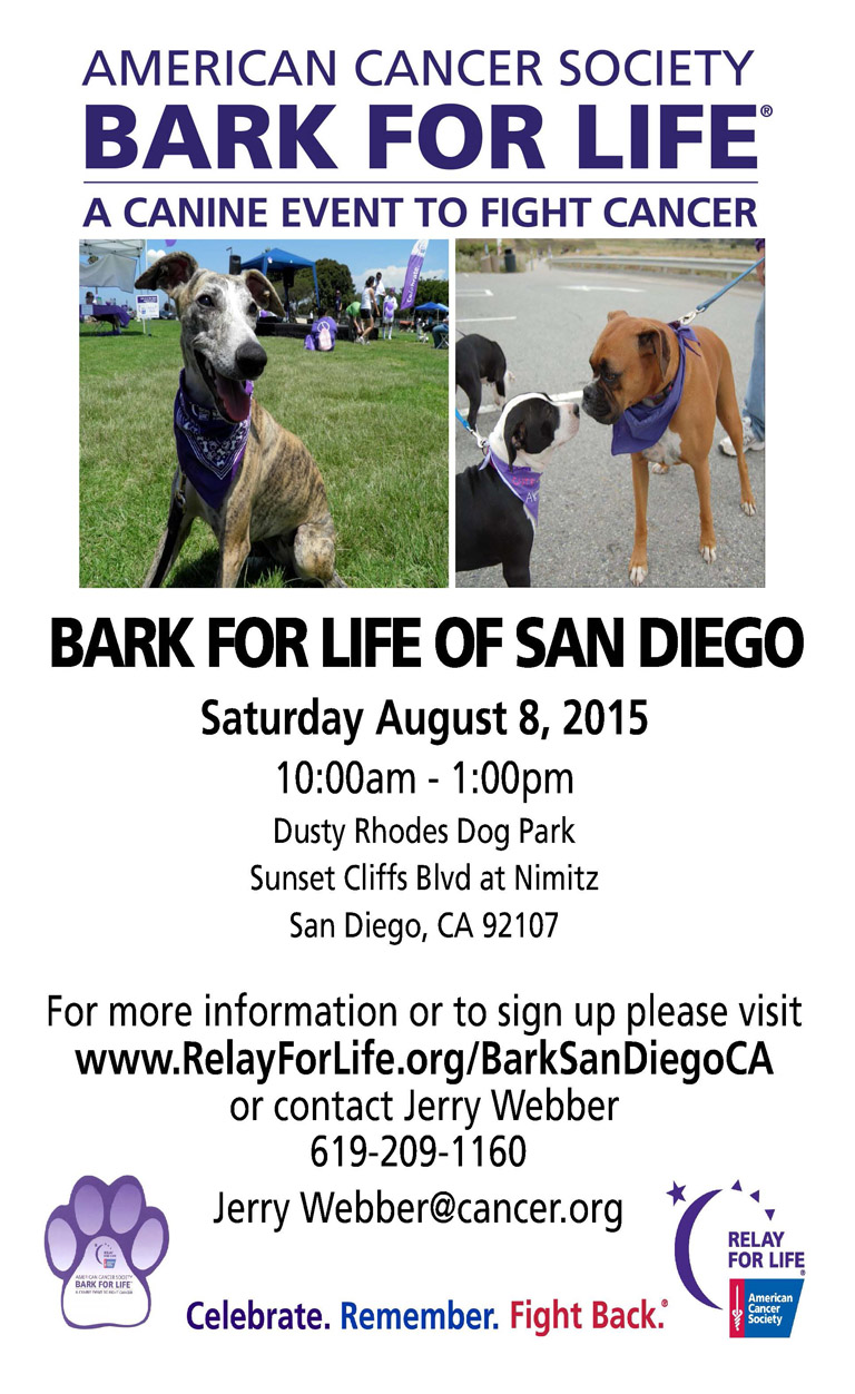 American Cancer Society Bark for Life of San Diego, Saturday, August 8, 2015