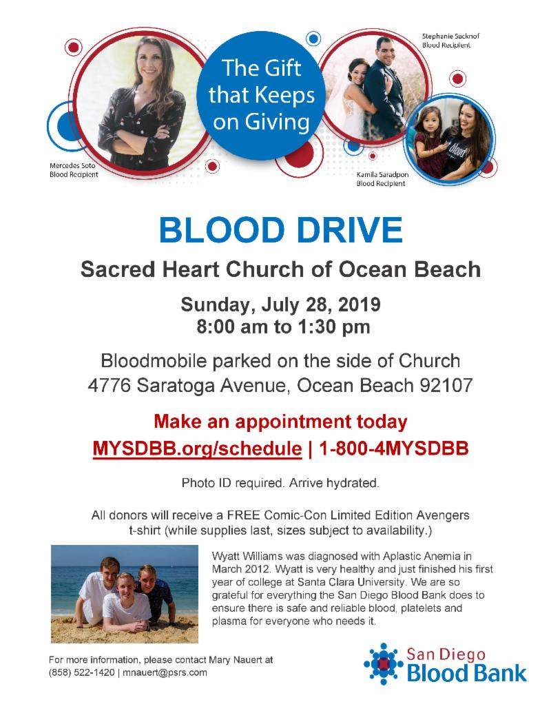 Ocean Beach News Article: Blood Drive at Sacred Heart