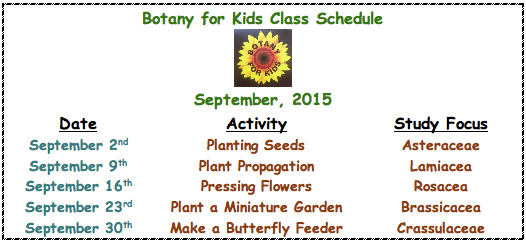 Botany for Kids Class Schedule