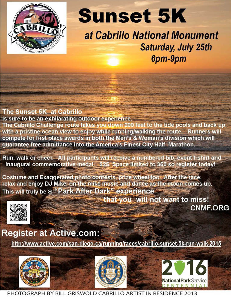Sunset 5K at Cabrillo National Monument, Saturday, July 25, 6pm to 9pm