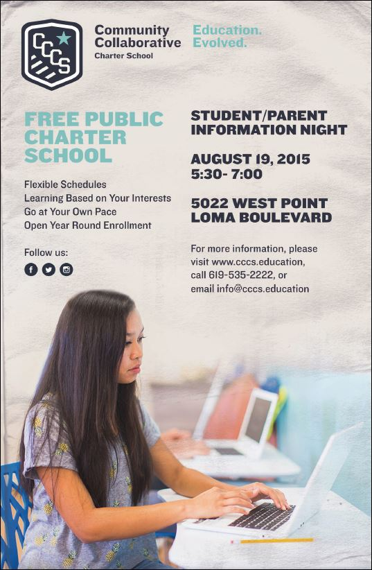 Student/Parent Information Night at Community Collaborative Charter School, August 19, 2015, 5:30pm-7pm, 5022 West Point Loma Blvd