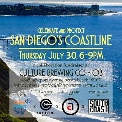 Celebrate and Protect San Diego's Coastline, Thursday, July 30, 6-9pm, Culture Brewing Co OB, 4845 Newport Ave