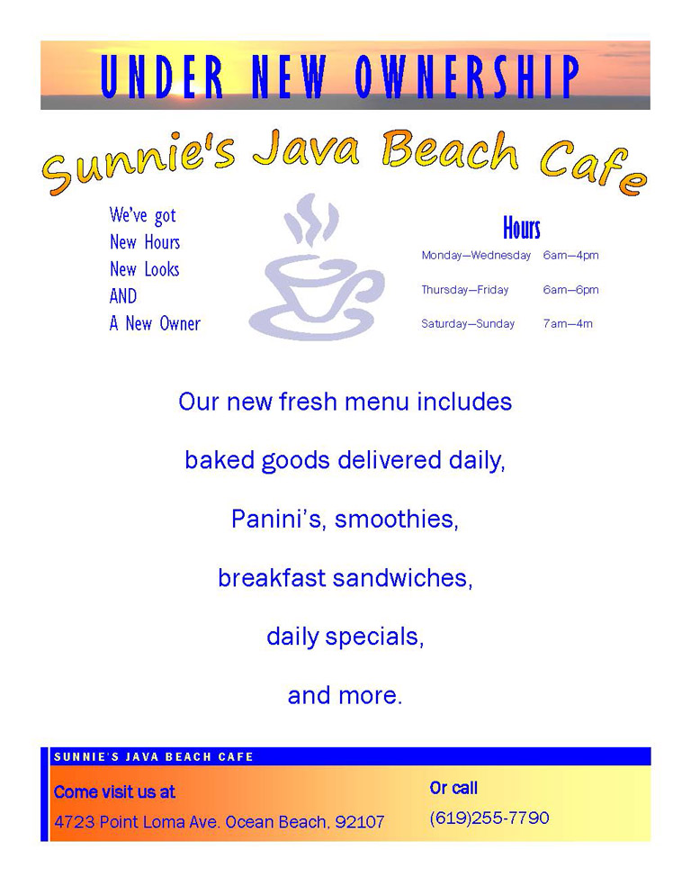 Sunnie's Java Beach Cafe launches new menu!
