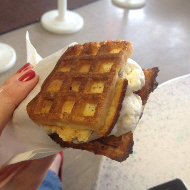 Lighthouse Ice Cream's delicious waffle ice cream sandwich
