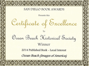 OBHS San Diego Book Awards certificate