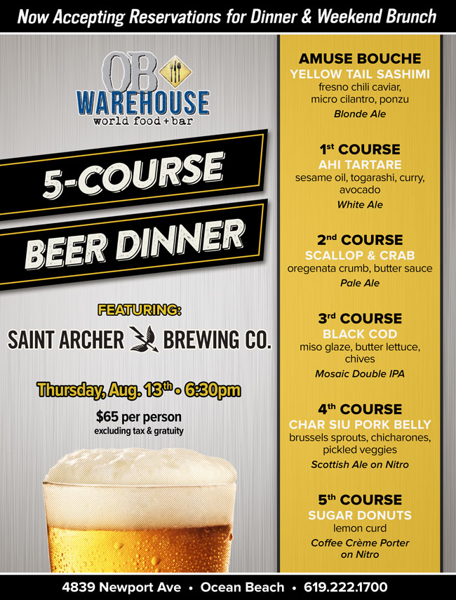 OB Warehouse 5-Course Beer Dinner featuring Saint Archer Brewing Co