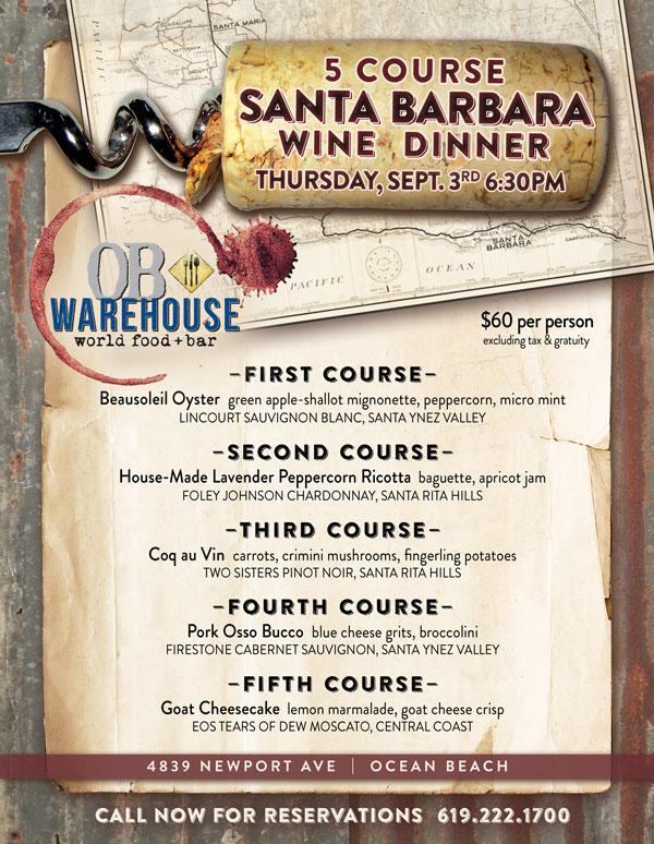 Santa Barbara Wine Dinner at OB Warehouse