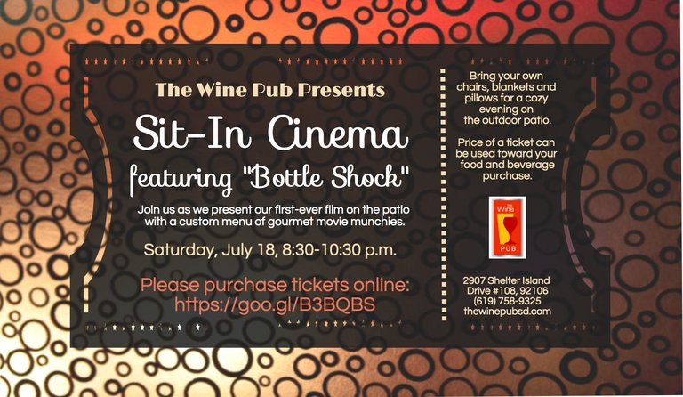 "Sit-In Cinema featuring ""Bottle Shock"" at The Wine Pub, Saturday, July 18, 2015"