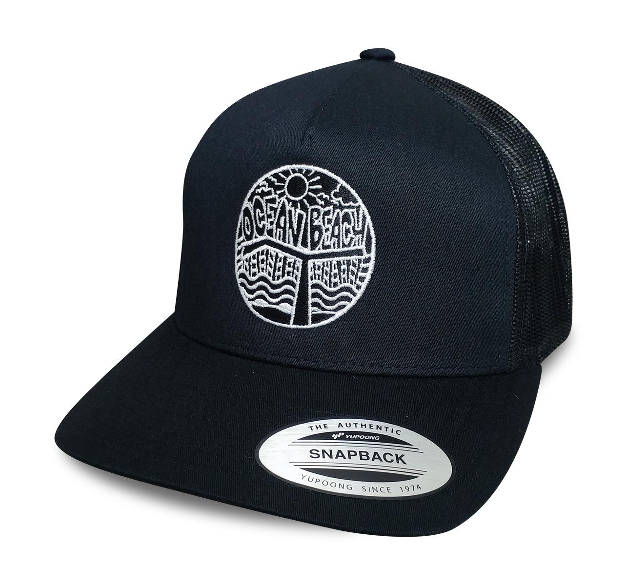 Ocean Beach Product: OB Pier Snapback Hat (white logo)
