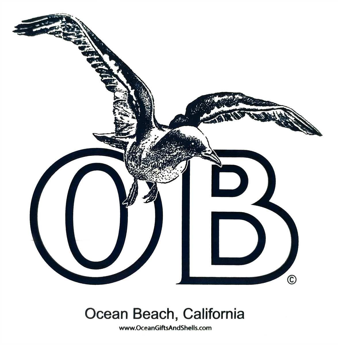 "Ocean Beach Product: OB Seagull Sticker 4"""