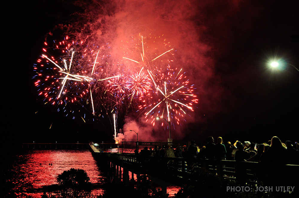 4th Of July Fireworks Off The Ob Pier