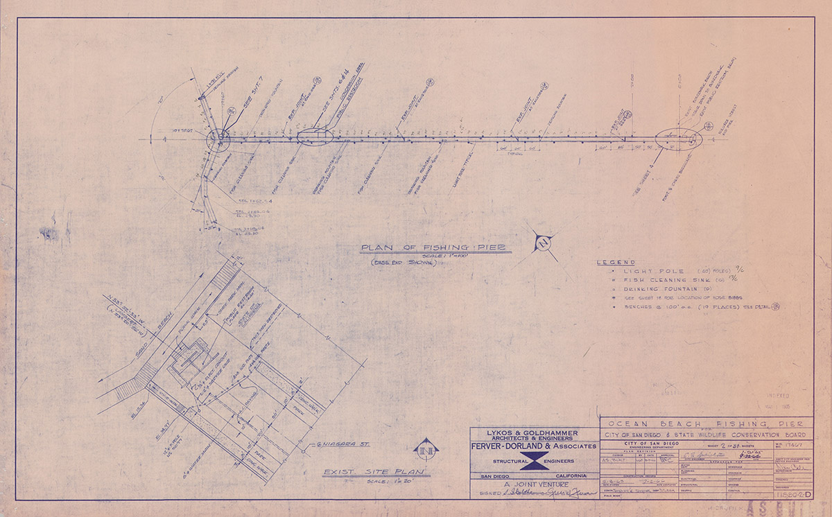 Ocean Beach Fishing Pier Blue Print Plan