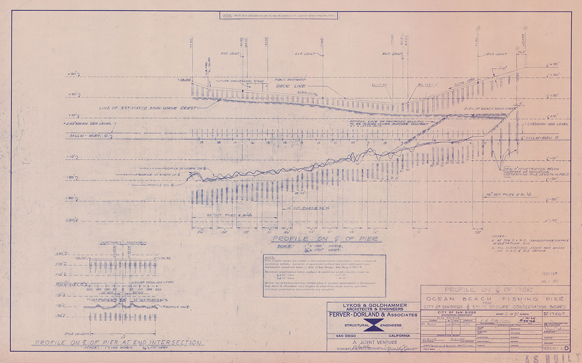 Ocean Beach Fishing Pier Blue Prints Profile