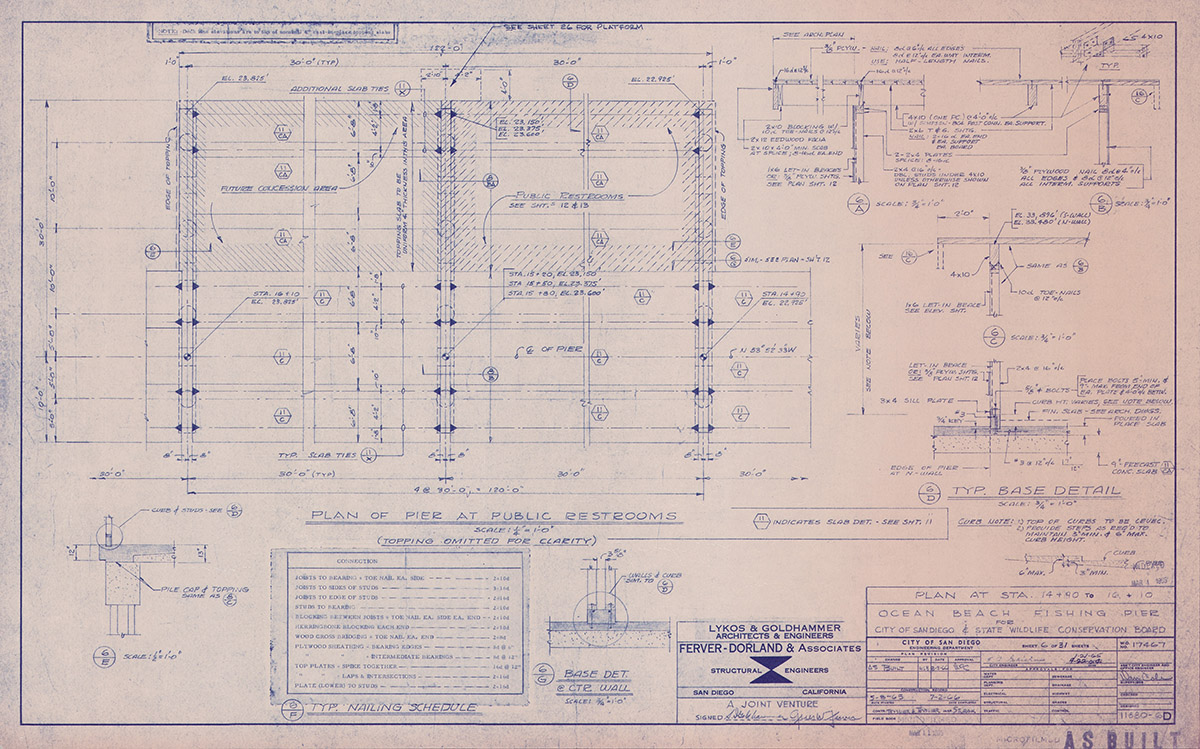 Ocean Beach Fishing Pier Blue Prints Base Detail Plan