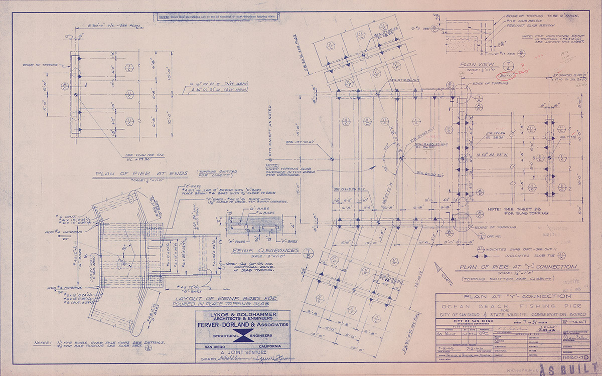Ocean Beach Fishing Pier Blue PRints Plan at Y Connection
