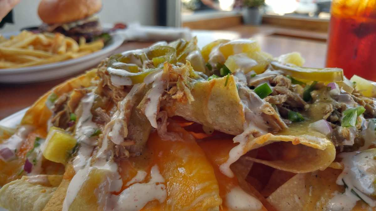 OB Brewery Pulled Pork Nachos