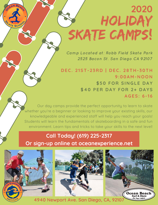 Holiday Skateboard Camps