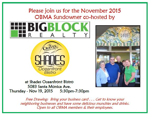 OBMA Member Event: Sundowner at Shades with Big Block Realty