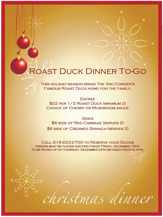 Holiday Roast Duck Dinners Available from the 3rd Corner | Ocean ...