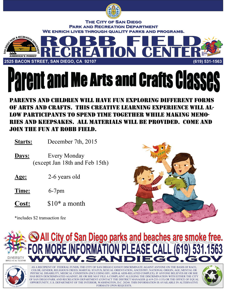 Parent and Me Arts and Crafts Classes at Robb Field Recreation Center