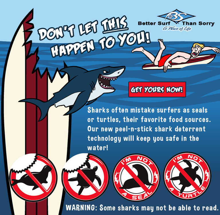 Shark Repellant Stickers at Better Surf Than Sorry