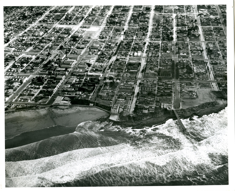 Aerial view showing Del Monte pier - photo courtesy of Ocean Beach Historical Society