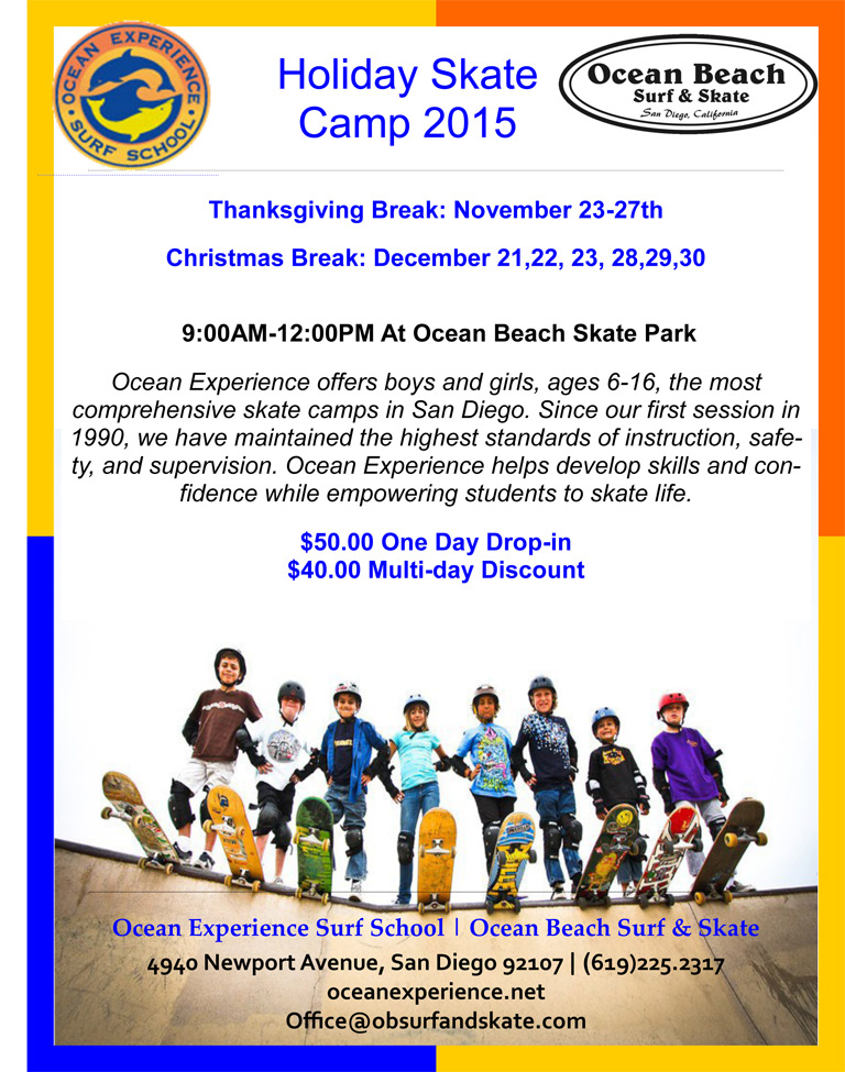 Holiday Skate Camp at OB Surf & Skate