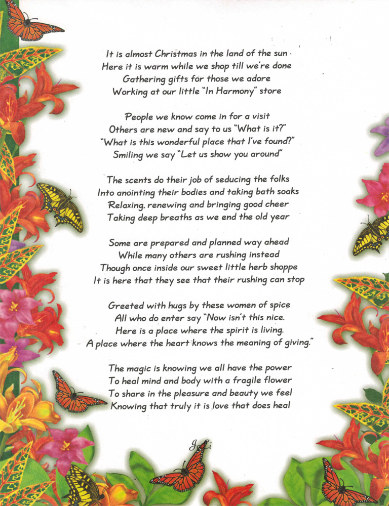 In Harmony Herbs & Spices holiday poem