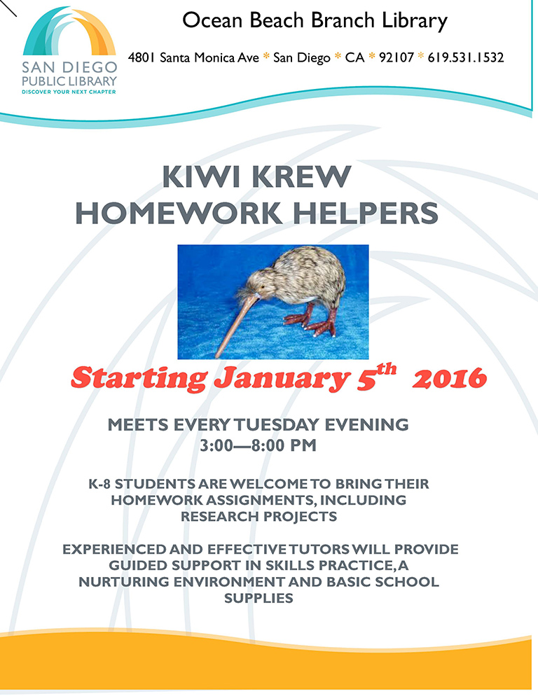 Kiwi Krew Homework Helpers at OB Library