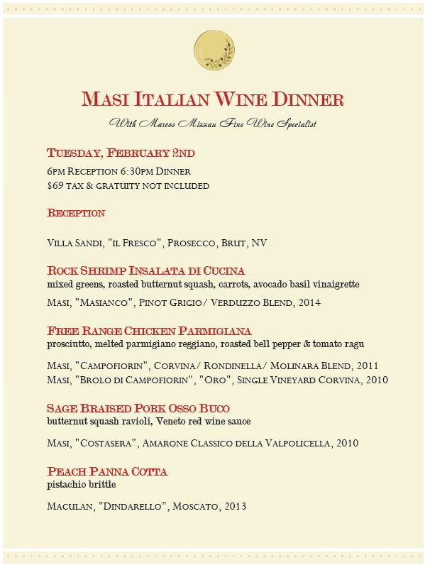 Masi Italian Wine Dinner at the 3rd Corner