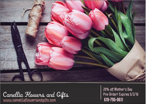 Mother's Day Pre-Orders 20% Off at Camellia Flowers