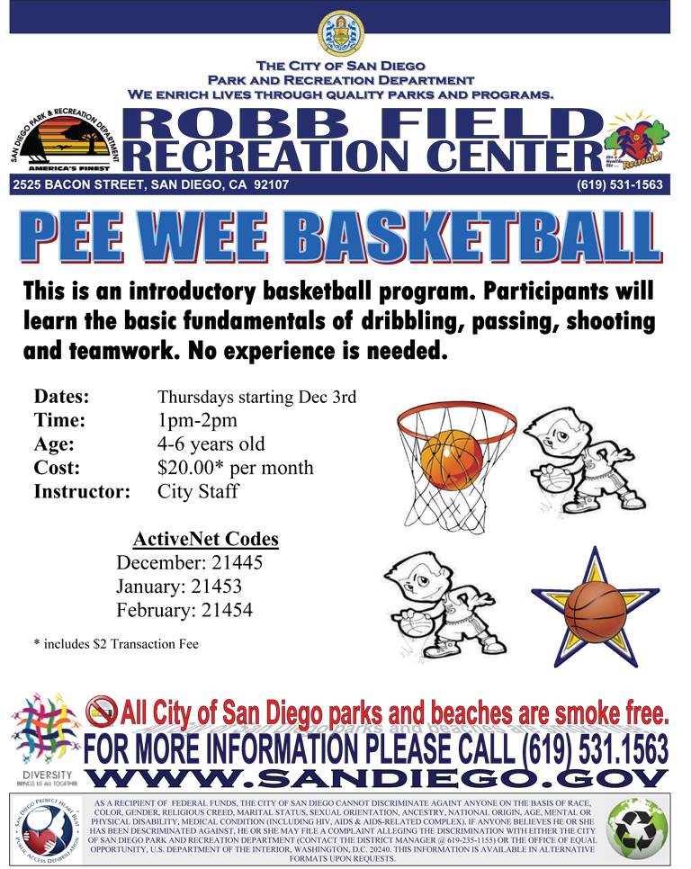 Pee Wee Basketball at Robb Field Recreation Center