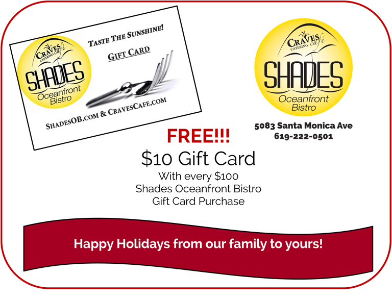 Gift Card Promotion at Shades