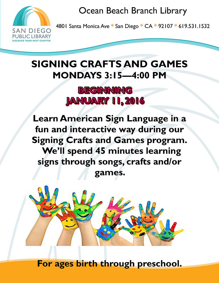 Signing/Craft Classes at OB Library