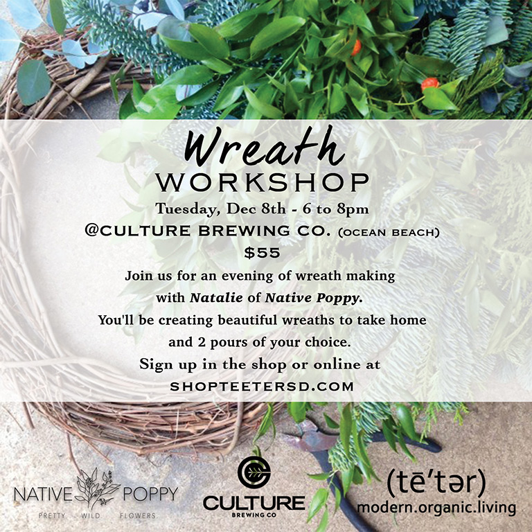 Wreath Workshop at Culture Brewing Co with Teeter