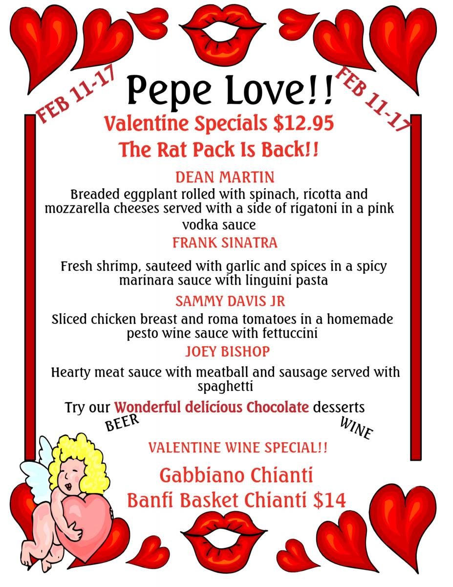 Pepe's Ocean BeaCh Valentine's Day Specials