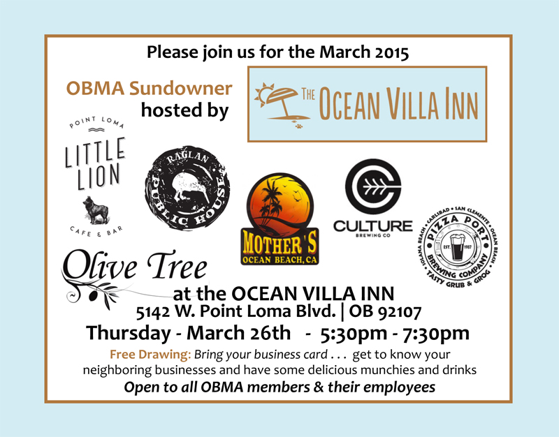 Ocean Beach MainStreet Association Ocean Villa Inn Sundowner Raglan Public House Mothers Saloon The Little Lion Cafe Olive Tree Marketplace  Culture Brewing Company Pizza Port