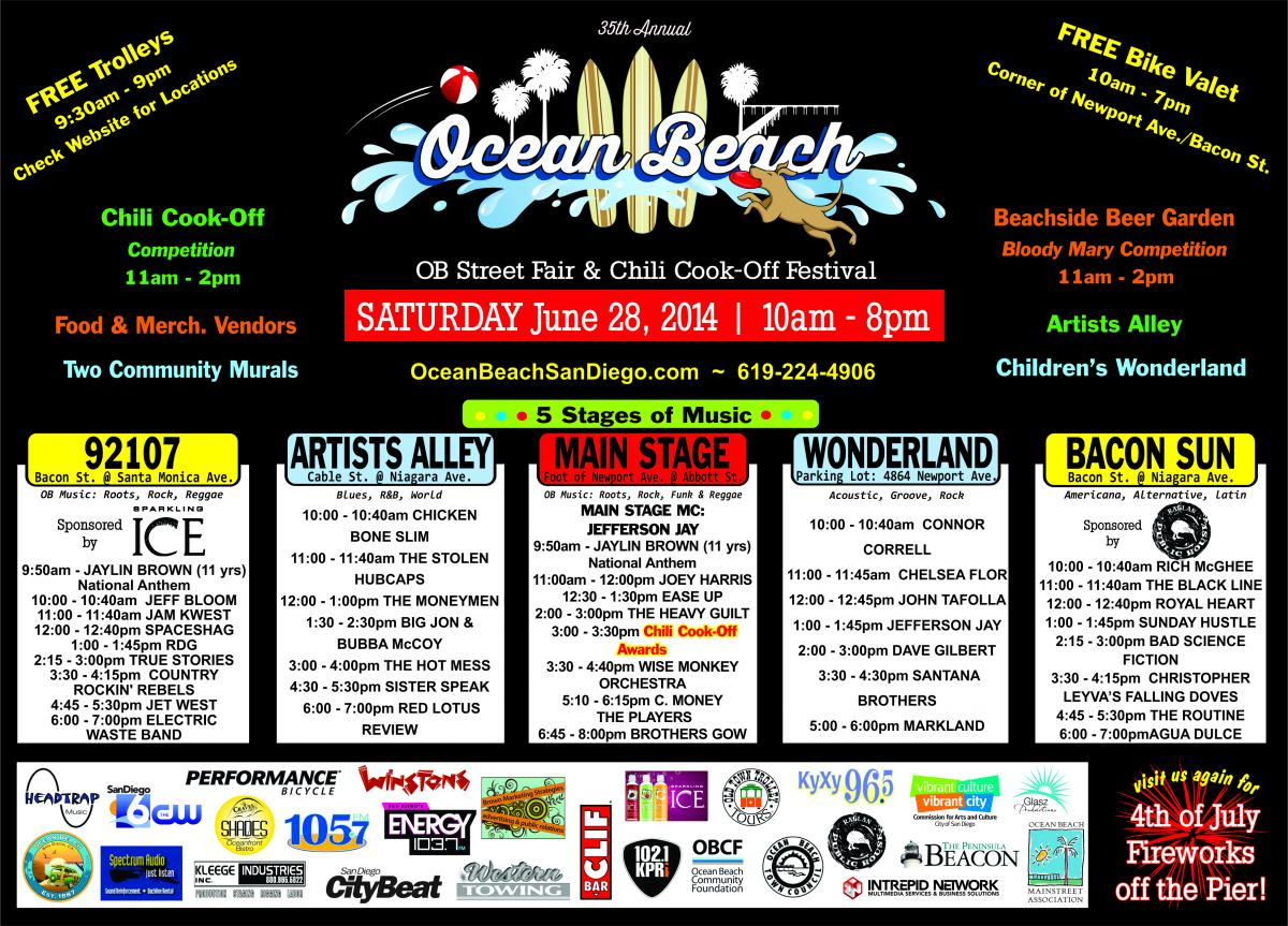 Ocean Beach Street Fair & Chili Cook-Off Festival 2014 Music Line Up
