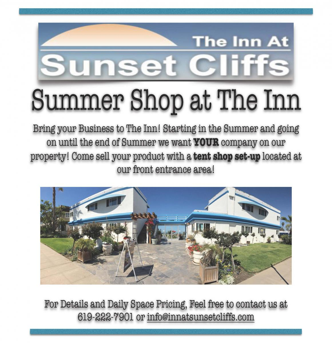 set up your summer shop at the inn at sunset cliffs. Black Bedroom Furniture Sets. Home Design Ideas