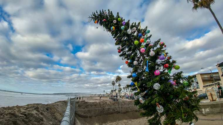 Ocean Beach Christmas Tree and Ocean Beach Hotel (2018)