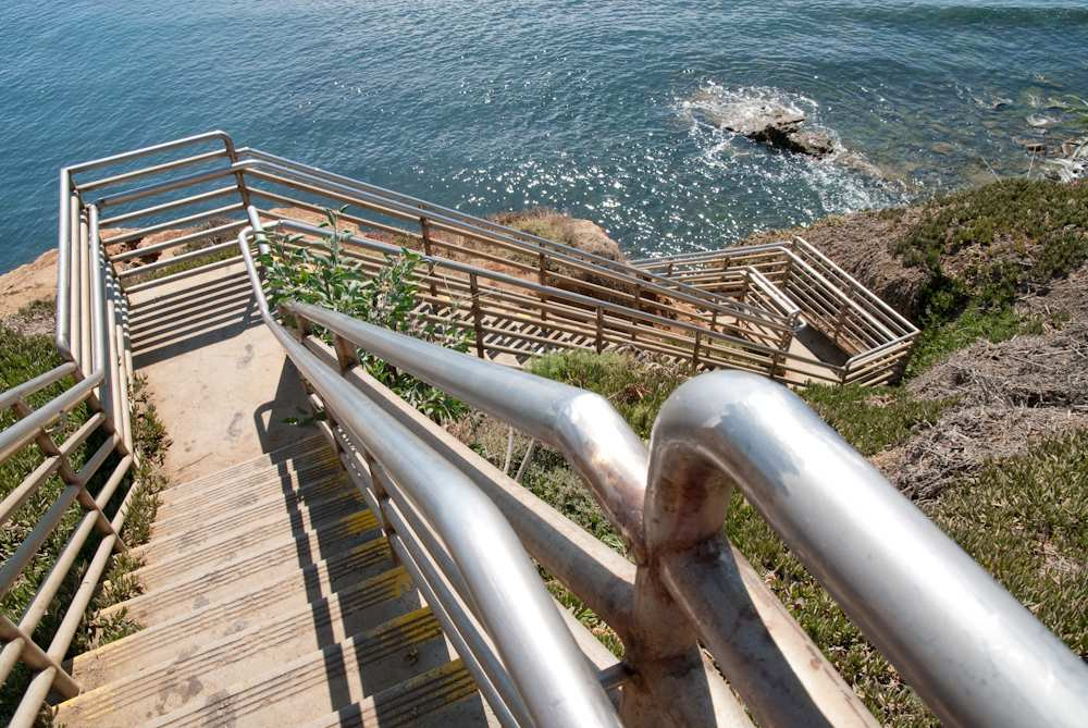 Stairs from the cliffs down to the tide pools