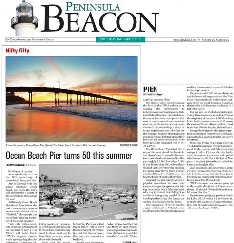 Photo of: Peninsula Beacon: Iconic Ocean Beach Pier turns 50 this summer press coverage