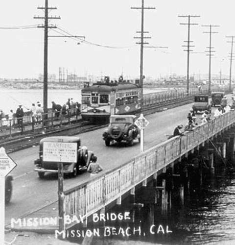 Mission Bay Bridge - photo courtesy of Ocean Beach Historical Society
