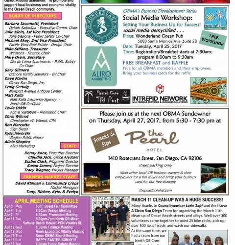 Ocean Beach MainStreet Association Newsletter April 2017
