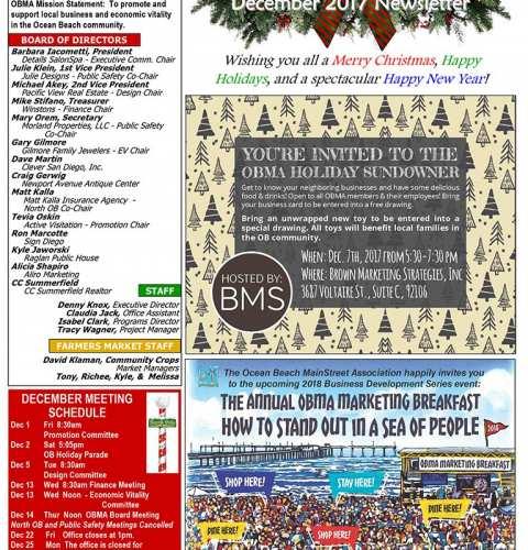 Ocean Beach MainStreet Association Newsletter December 2017